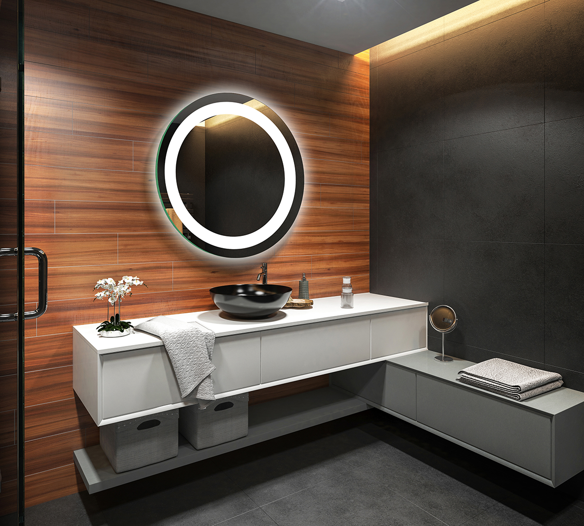 rund badspiegel led beleuchtung wandspiegel badezimmerspiegel lichtspiegel l33 ebay. Black Bedroom Furniture Sets. Home Design Ideas
