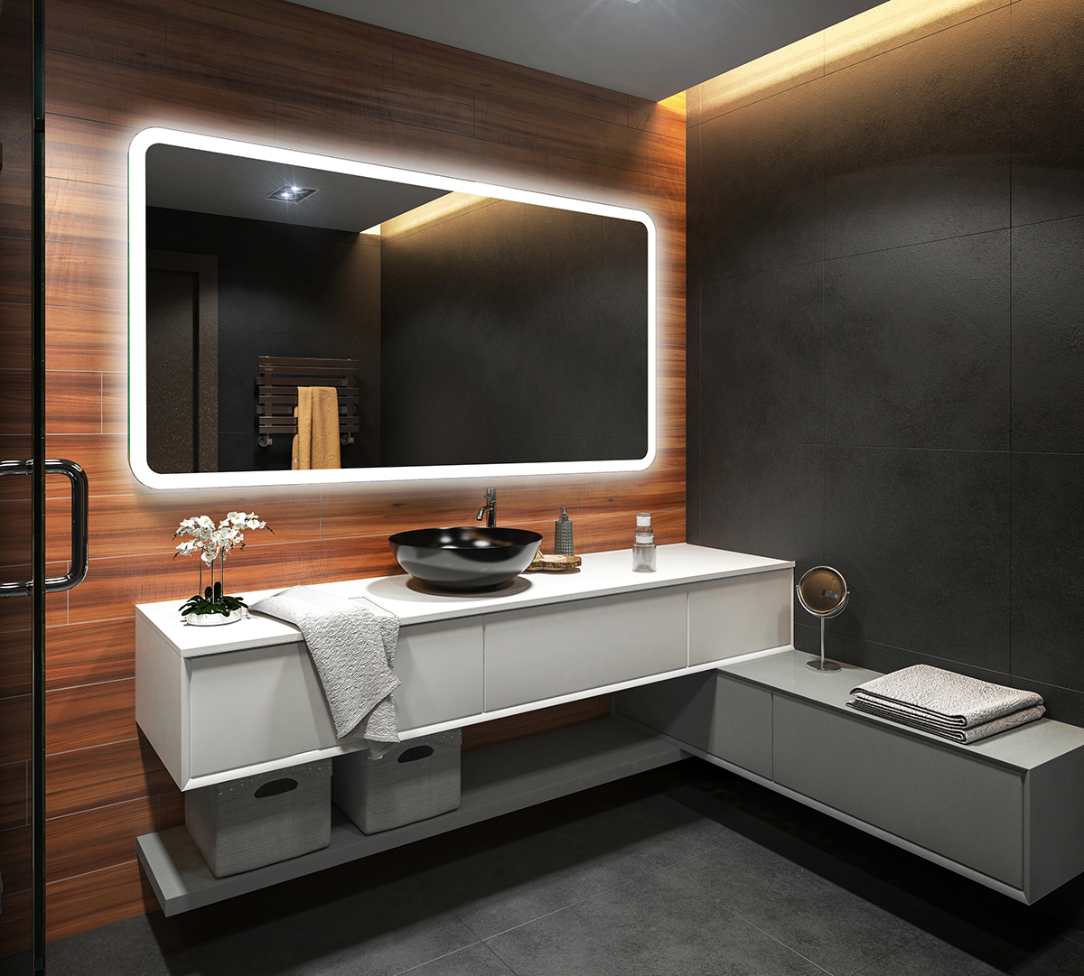 design led badezimmerspiegel eco badspiegel lichtspiegel. Black Bedroom Furniture Sets. Home Design Ideas