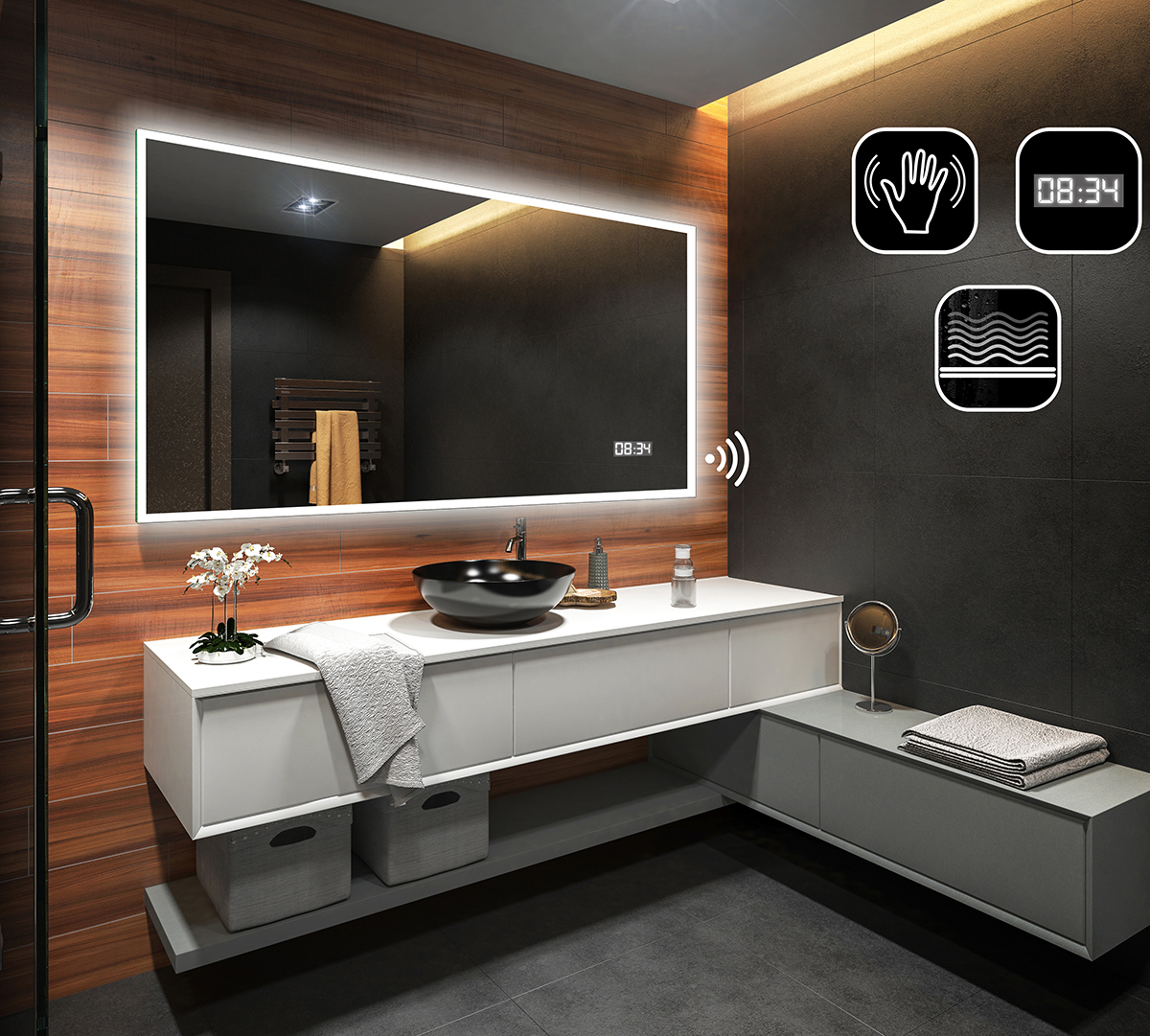 Modern LED Illuminated Bathroom Mirror