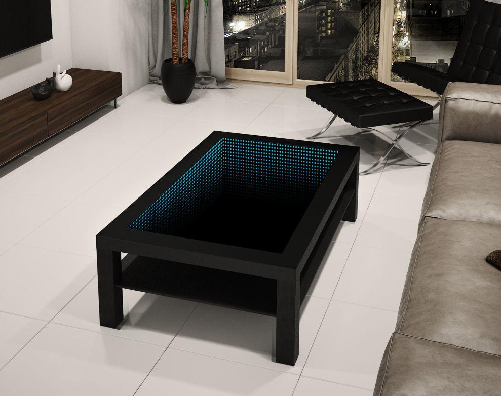 Tisch TABLE Couchtisch Glastisch LED 3D Tiefeffekt Spiegel Quadrat 55x55+Kristal
