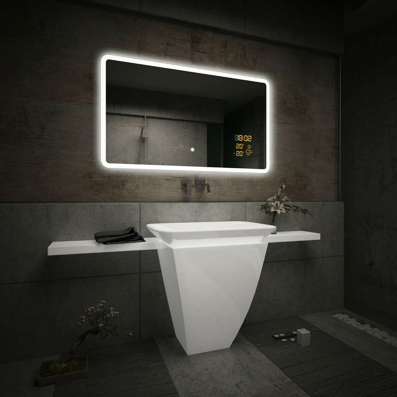 Badspiegel Mit LED Beleuchtung | Schalter Zu Wählen | LED Uhr U0026  Wetterstation S2