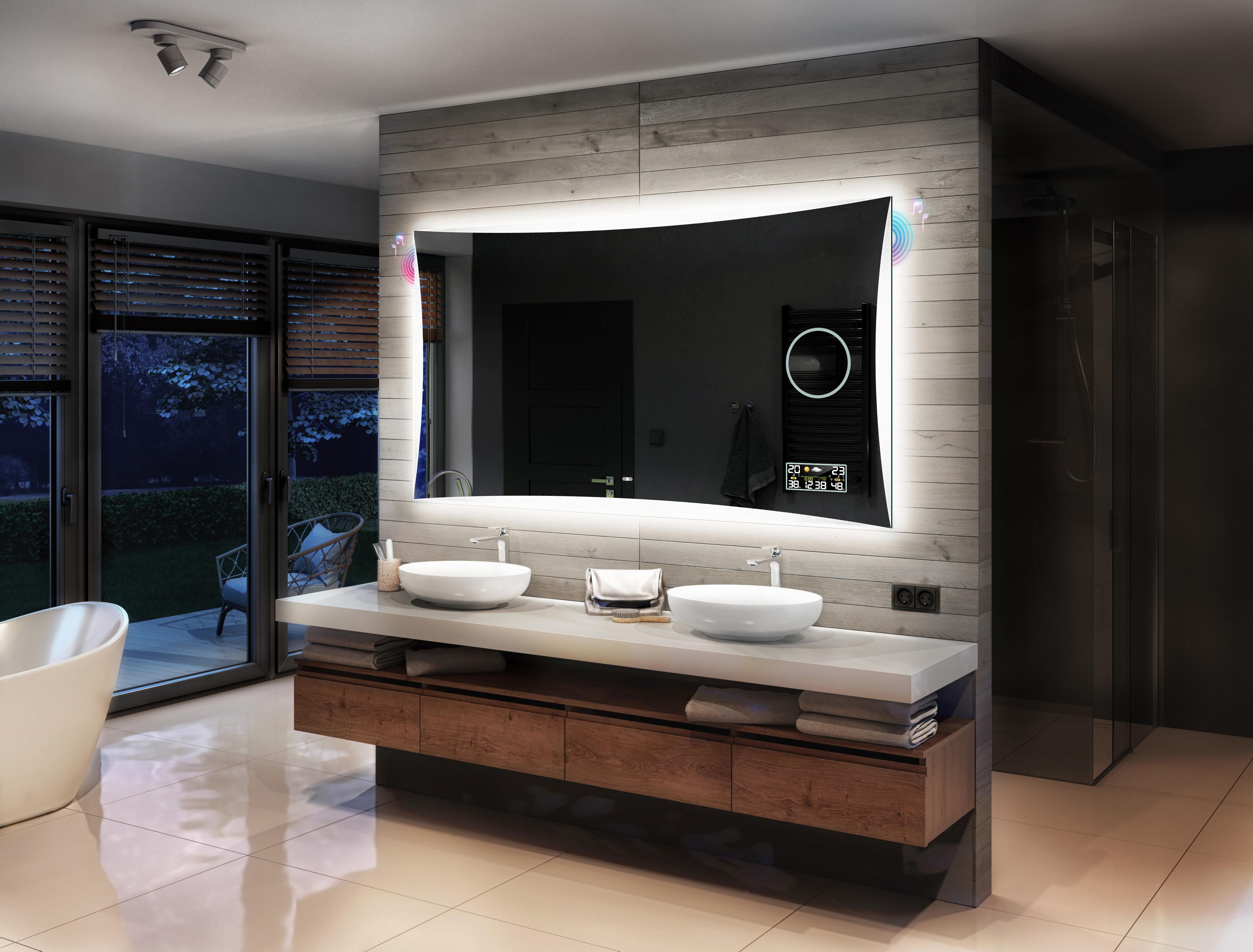 Badspiegel mit LED Beleuchtung SCHALTER MAKEUP SPIEGEL HEIZMATTE LED UHR L77