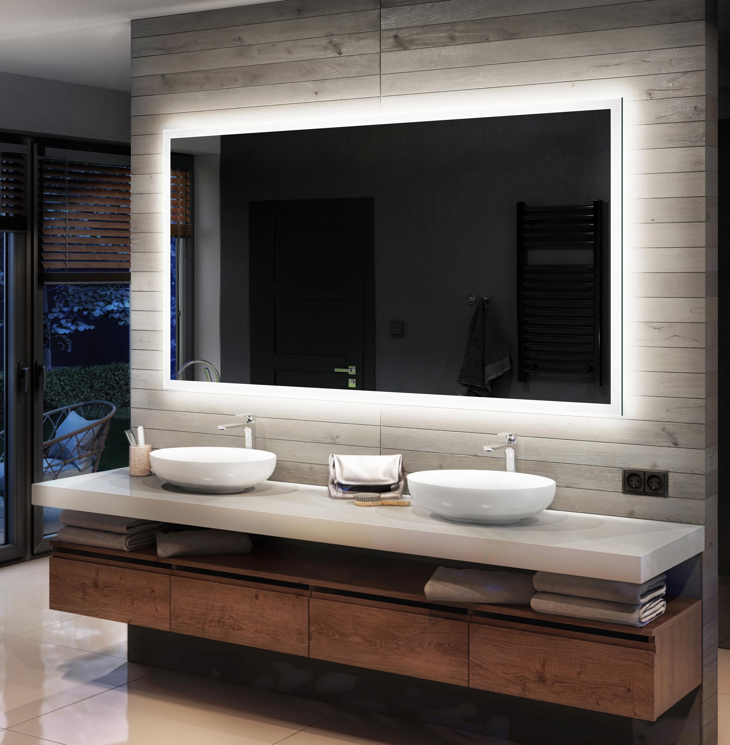 Details zu Badspiegel mit LED Beleuchtung Spiegel Wandspiegel  Badezimmerspiegel nach Maß 9