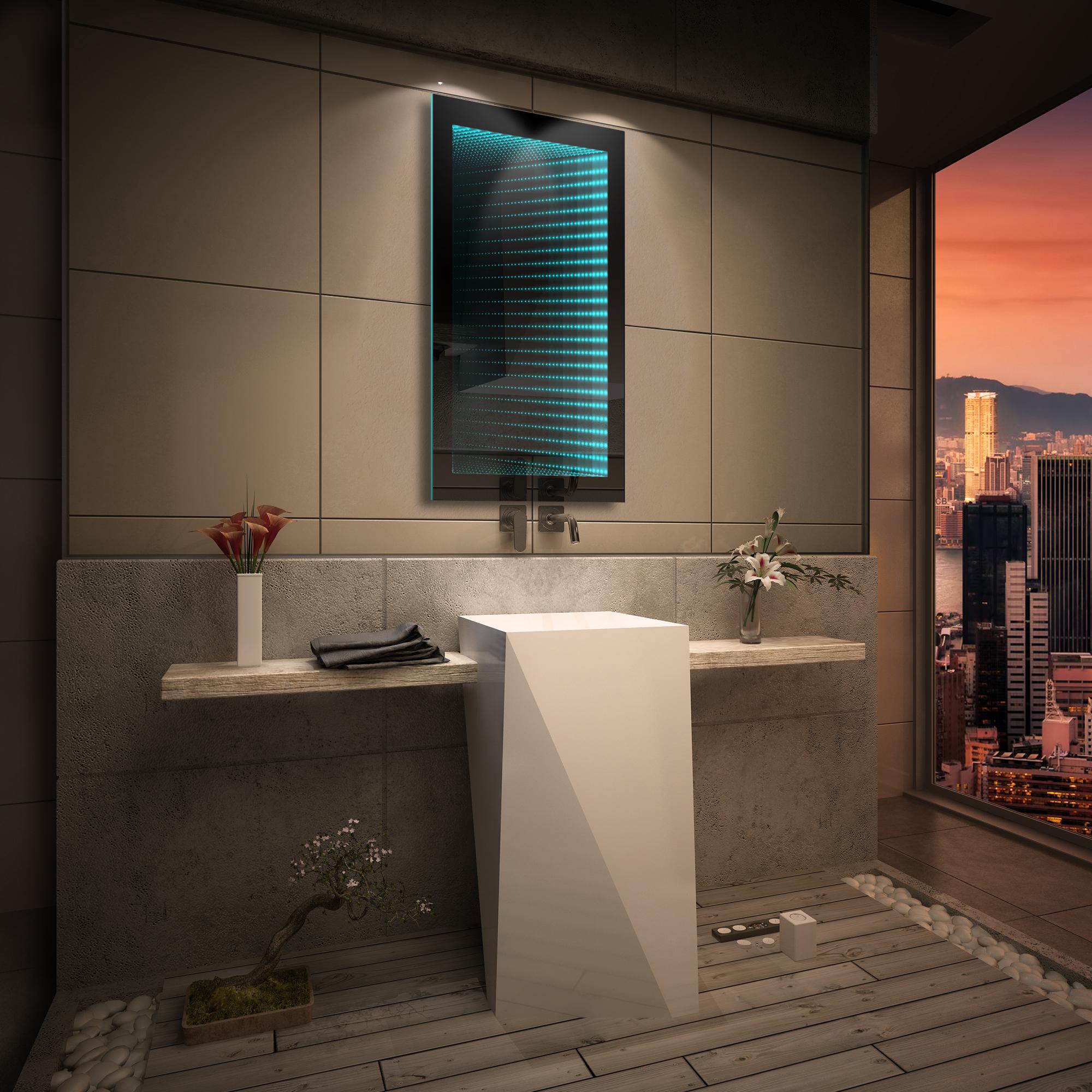 Badspiegel mit led 3d beleuchtung tieffeneffekt for Beleuchtung led