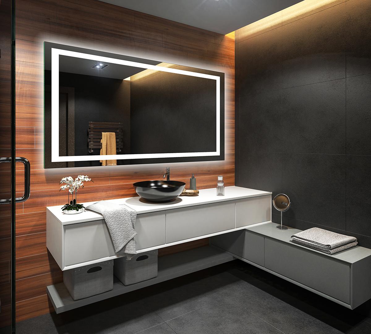 Details zu Modern Badspiegel mit Beleuchtung LED Wandspiegel Spiegel Bad  Batterien Versorgt
