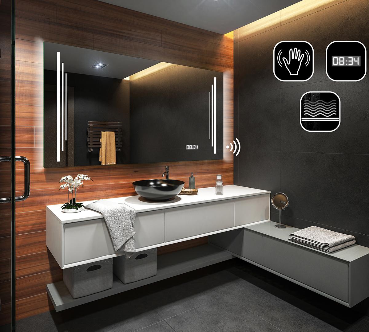 badspiegel mit led beleuchtung spiegel mit sensor schalter led uhr heizmatte ebay. Black Bedroom Furniture Sets. Home Design Ideas