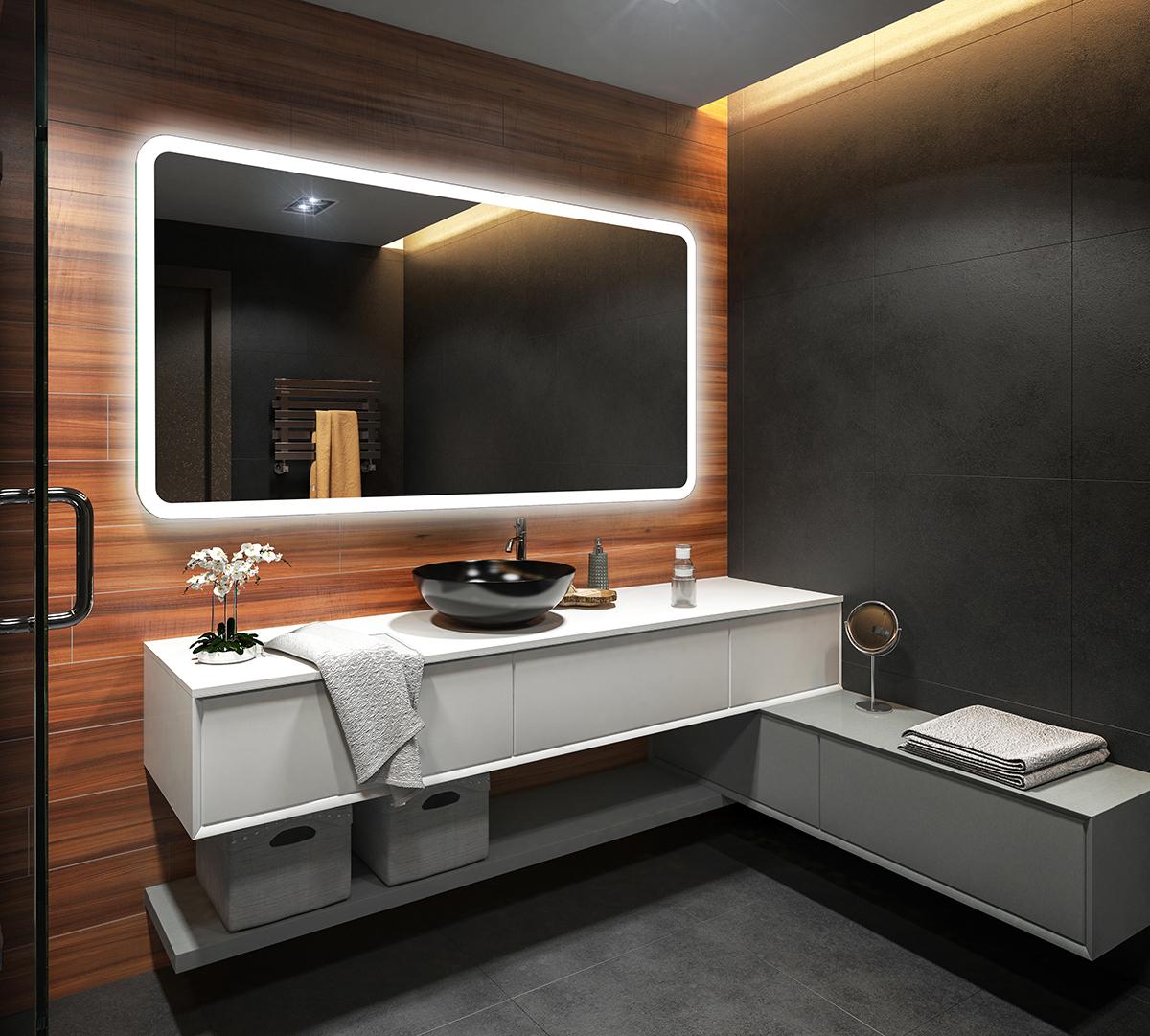 badspiegel mit led beleuchtung wandspiegel spiegel badezimmerspiegel nach ma 59 ebay. Black Bedroom Furniture Sets. Home Design Ideas