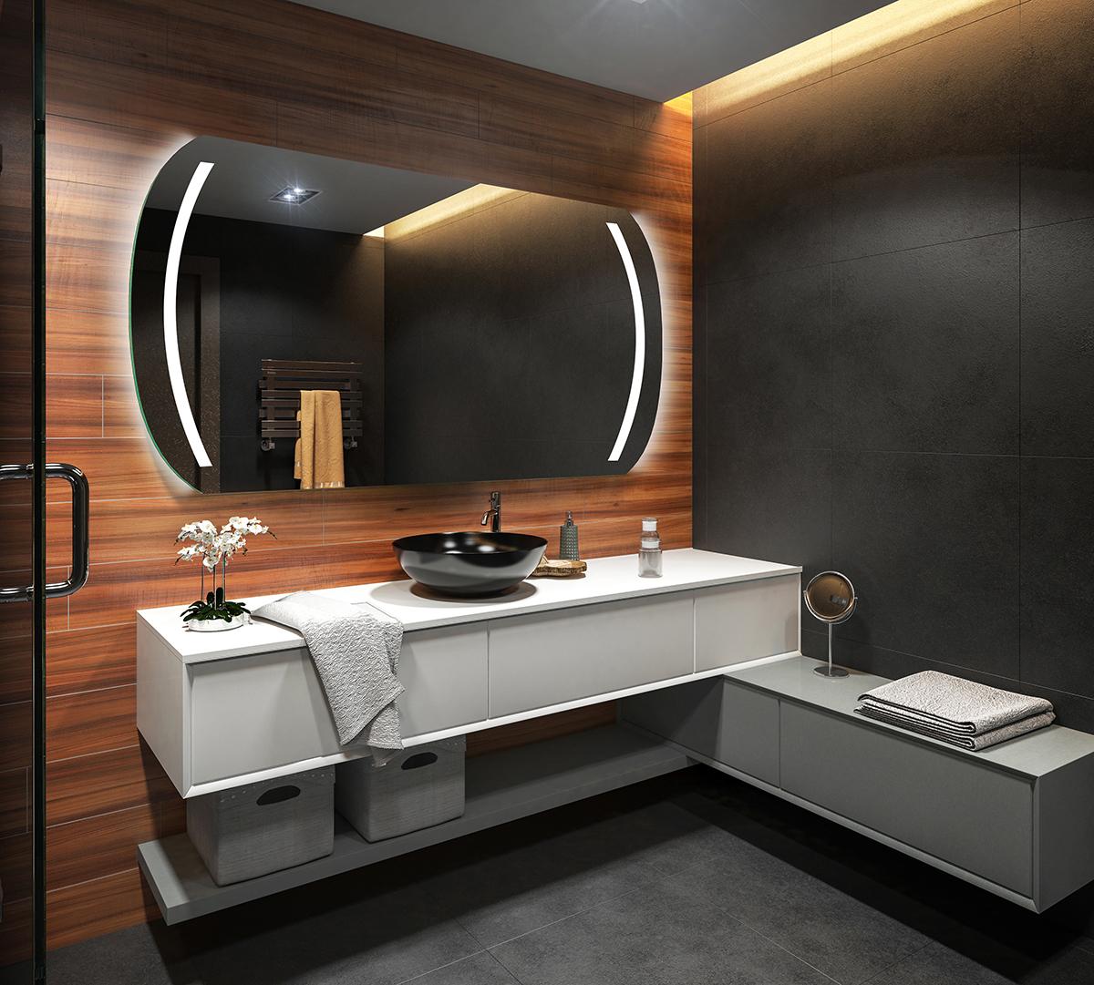 Espejo de ba o moderno e iluminado fabricado a medida con - Espejos para banos modernos ...