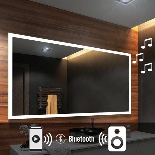 beau miroir salle de bain lumineux led haut parleur. Black Bedroom Furniture Sets. Home Design Ideas