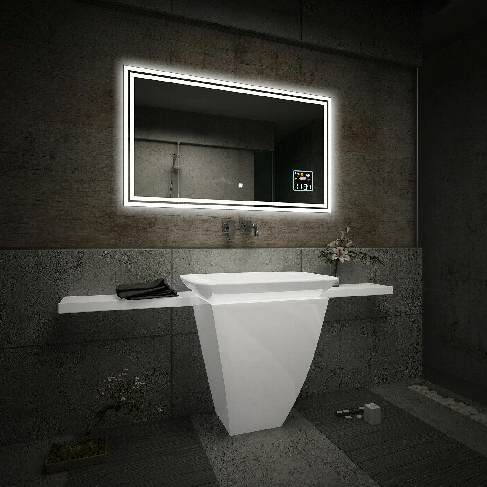 Specchio del bagno con illuminazione led interruttore stazione meteo s3 l57 ebay - Illuminazione bagno led ...