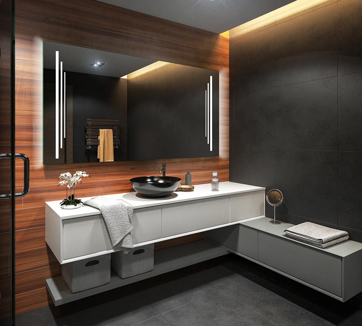 Specchio del bagno con illuminazione led misura l27 telaio del retro di specchio ebay - Illuminazione bagno led ...