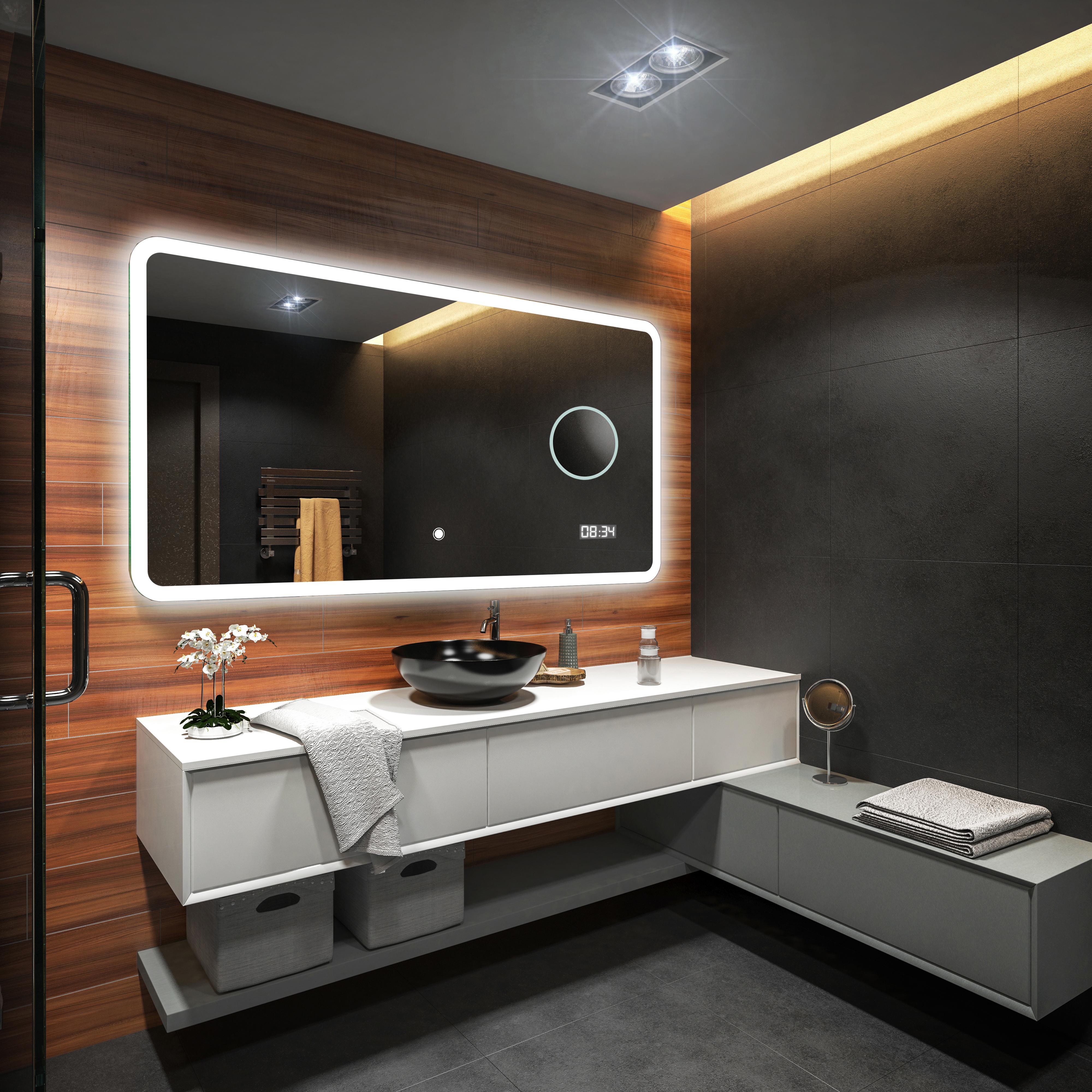Specchio del bagno illuminazione led interrutore orologio specchio ingranditore ebay - Illuminazione bagno led ...