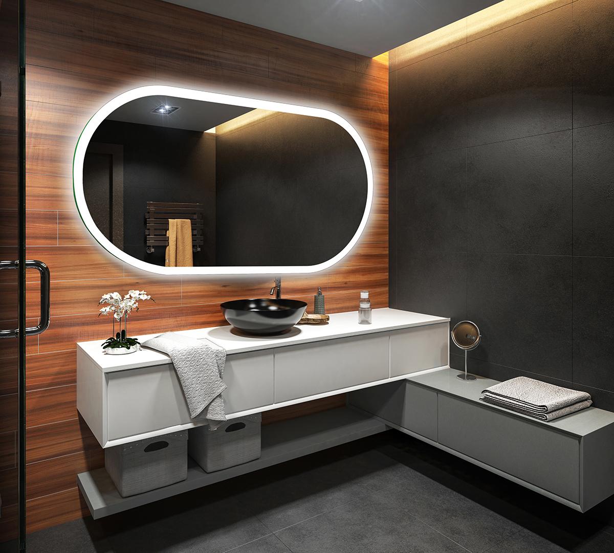 Controluce led specchio su misura illuminazione sala da - Illuminazione specchio bagno ...