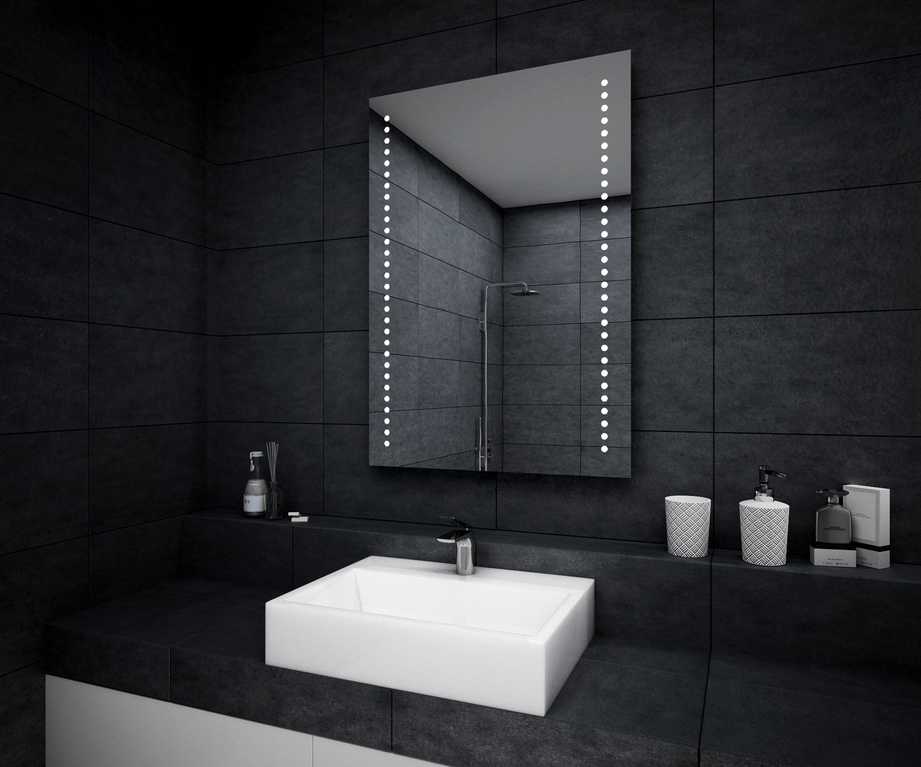 Modern LED Illuminated Bathroom Mirror 500x700mm Battery ...