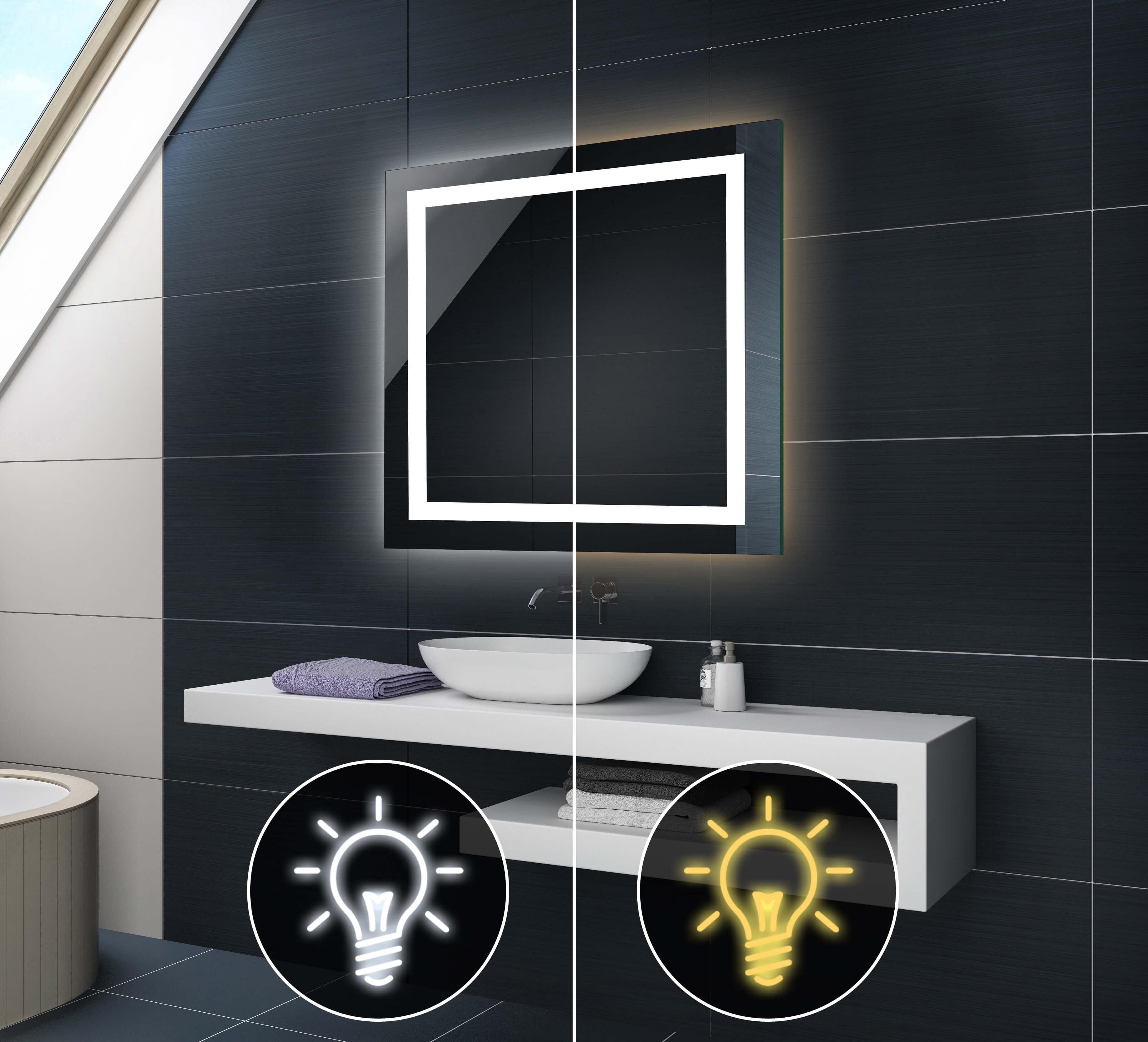 badspiegel mit led beleuchtung wandspiegel l15 mit touch. Black Bedroom Furniture Sets. Home Design Ideas