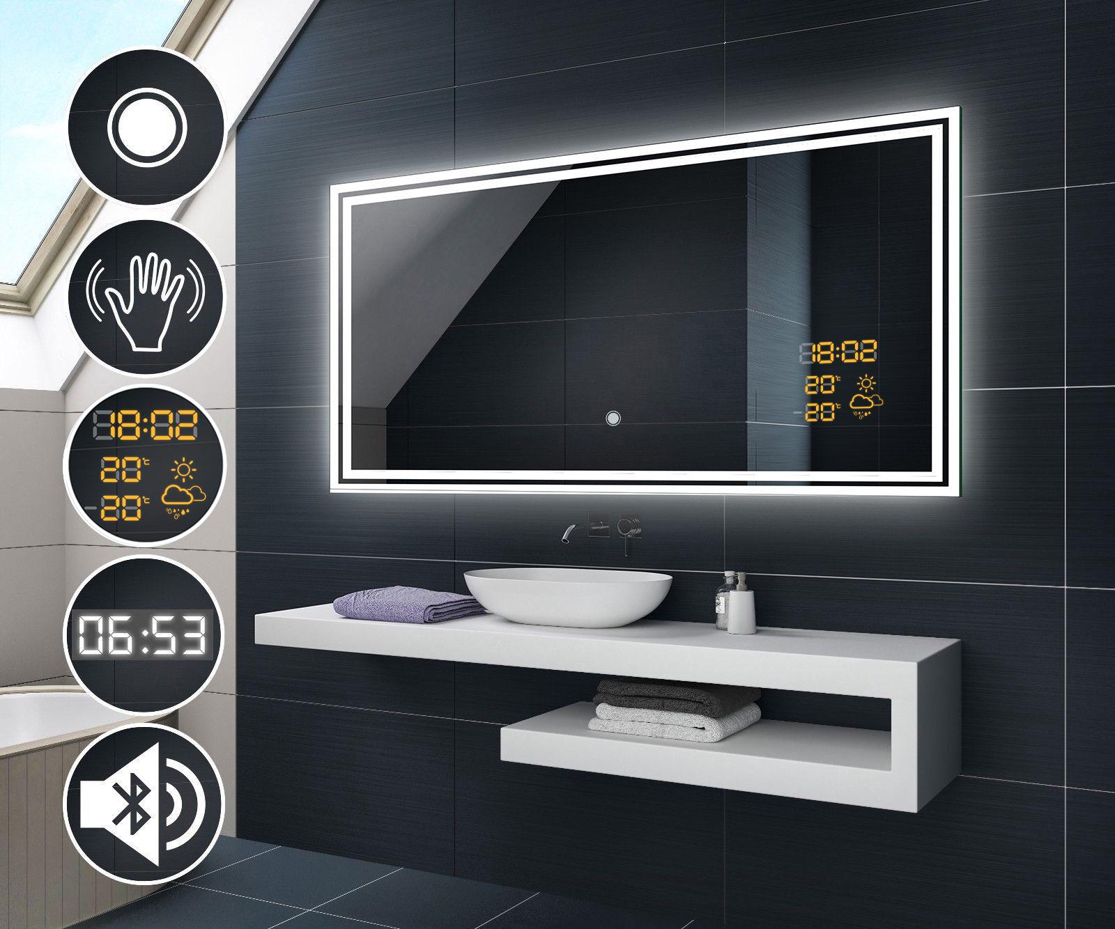 badspiegel mit led beleuchtung wetterstation s2. Black Bedroom Furniture Sets. Home Design Ideas