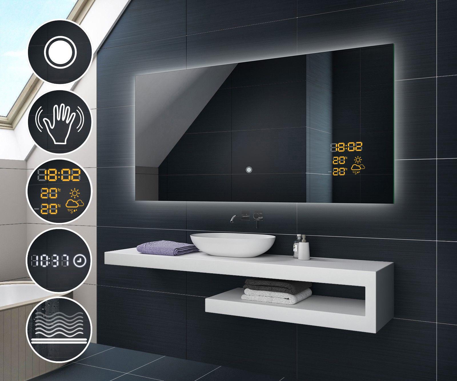 badspiegel mit led beleuchtung schalter wetterstation. Black Bedroom Furniture Sets. Home Design Ideas