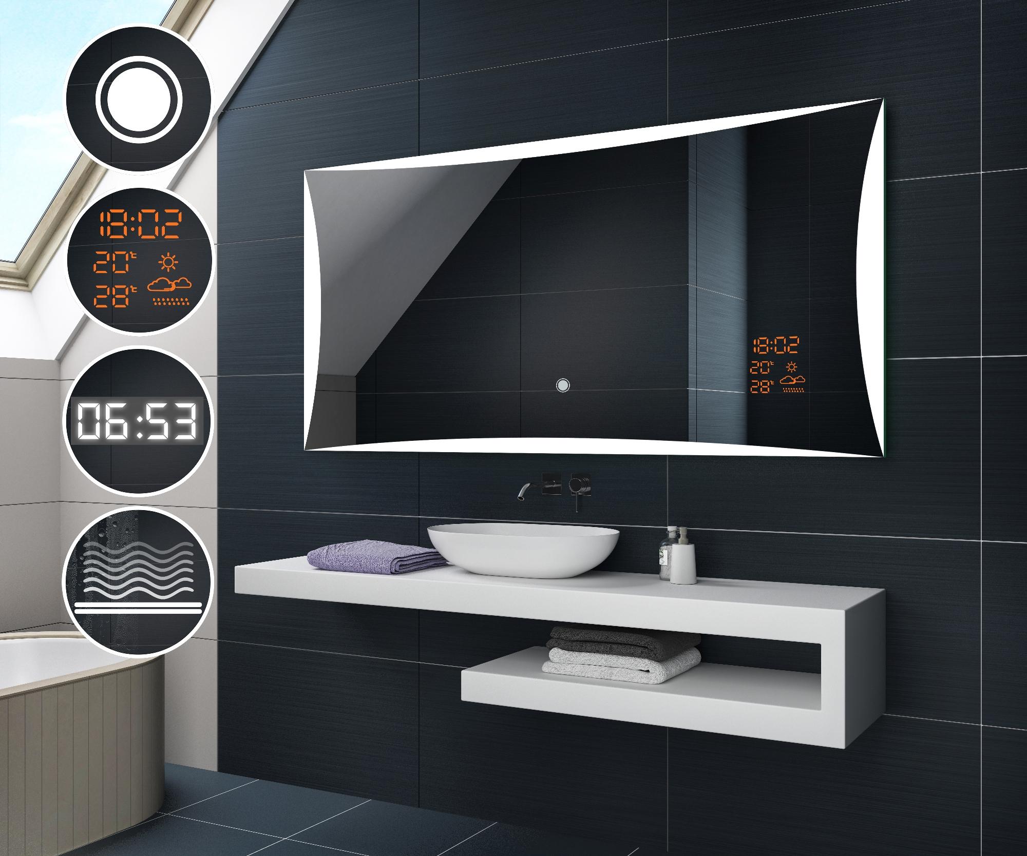Beau miroir salle de bain lumineux led accessoires for Interrupteur salle de bain