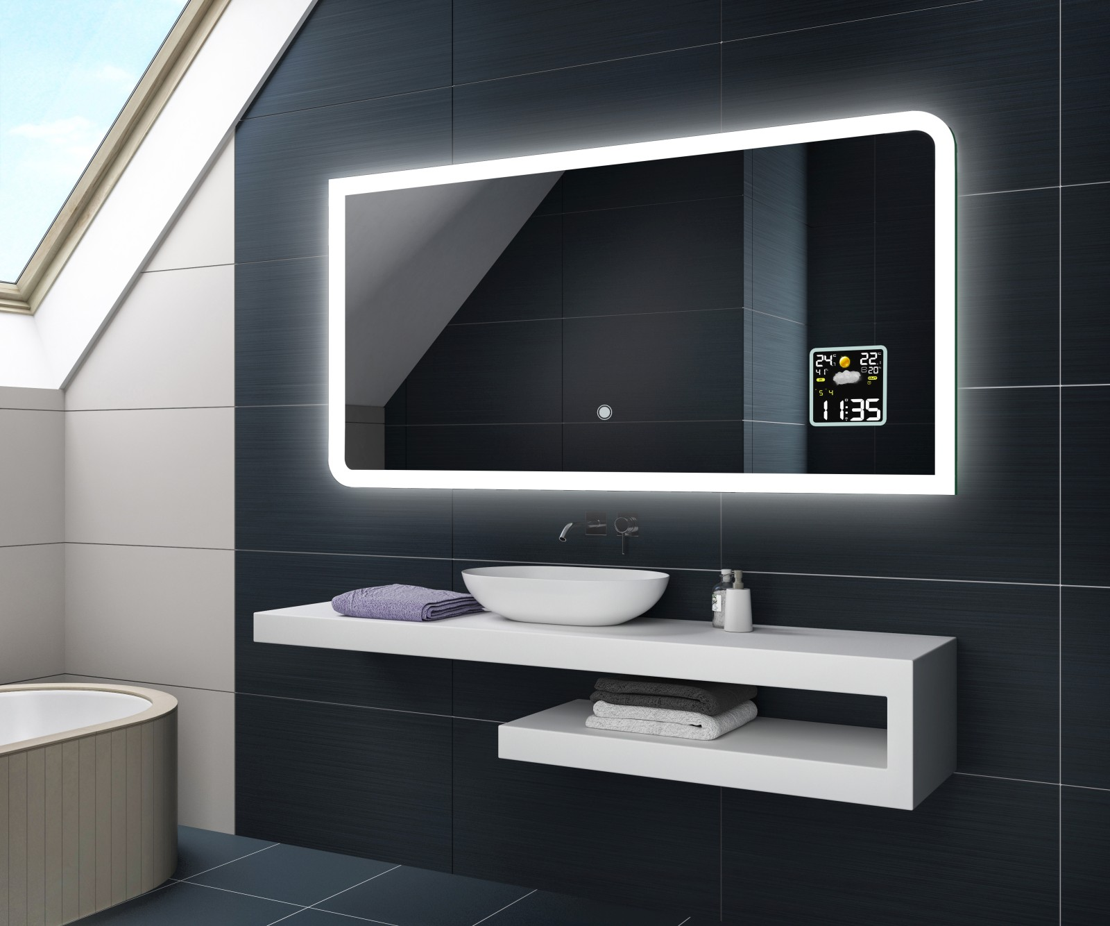 beau miroir salle de bain lumineux led station m t o. Black Bedroom Furniture Sets. Home Design Ideas