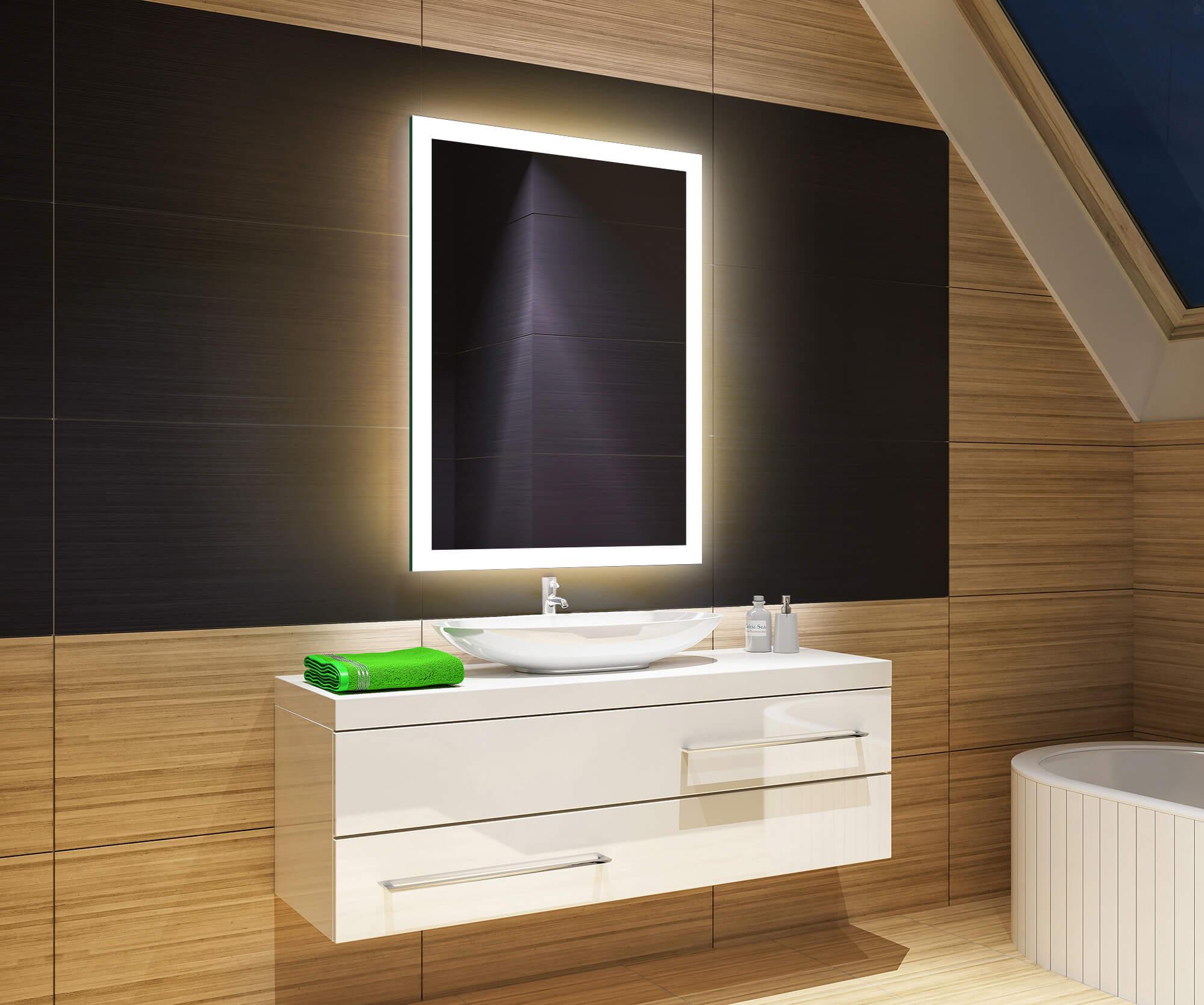 badspiegel mit led beleuchtung wandspiegel badezimmer spiegel 50x70 bcm1315am ebay. Black Bedroom Furniture Sets. Home Design Ideas
