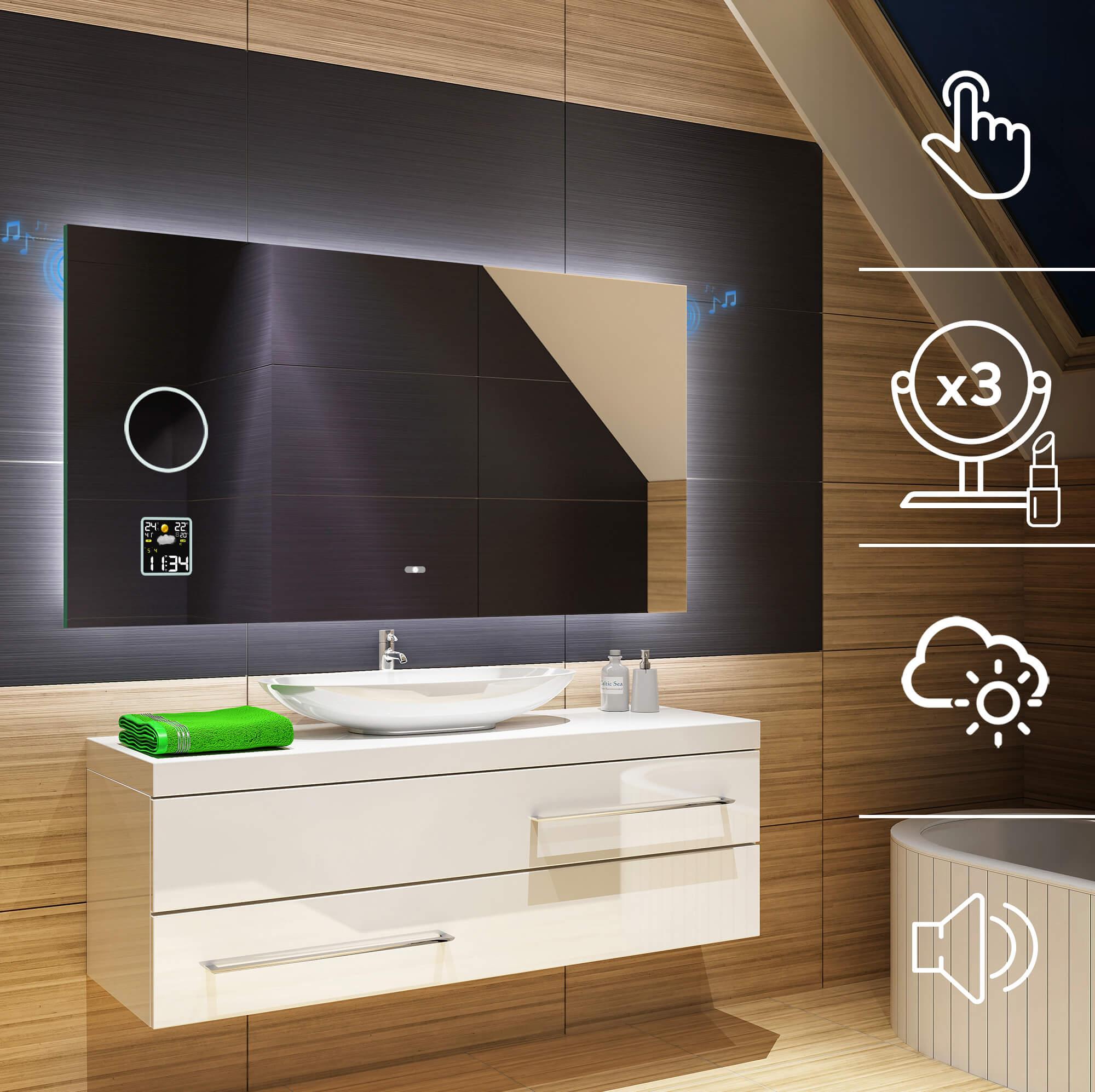 Moderne Miroir Salle De Bain Avec LED Illumination Éclairage Miroirs Muraux L58